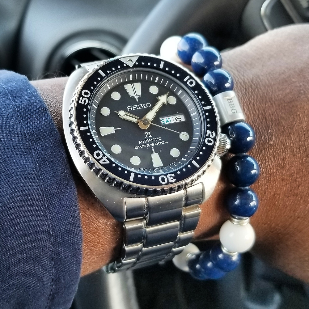 "WOTD wrist-shot of the Seiko, Prospex ""Turtle"".  Paired with a custom, beaded bracelet, designed by Beads By Gonzo."