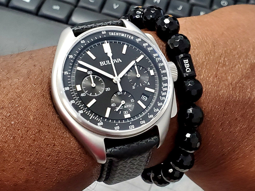 WOTD wrist-shot of the Bulova, Lunar Pilot, Special Edition.  Accessorized with a custom bracelet, designed by Beads By Gonzo.