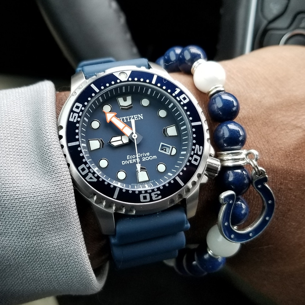 WOTD wrist-shot of the Citizen Eco-Drive, Promaster, paired with a custom, beaded bracelet, designed by Beads By Gonzo.