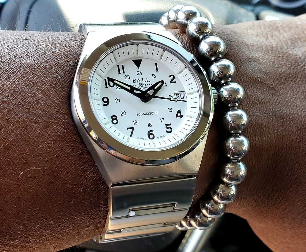 WOTD wrist-shot of the Ball Watch Company, Railroader.  Paired with a stainless steel, beaded bracelet.