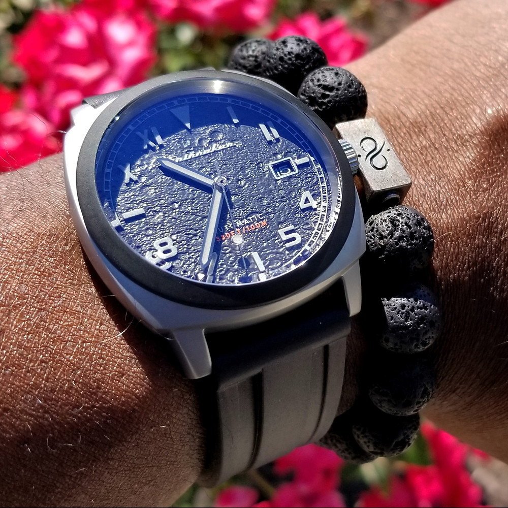 WOTD wrist-shot of the Spinnaker, Hull - California, Tactical Edition.  Paired with large gauge lava stones, designed by Aurum Brothers.