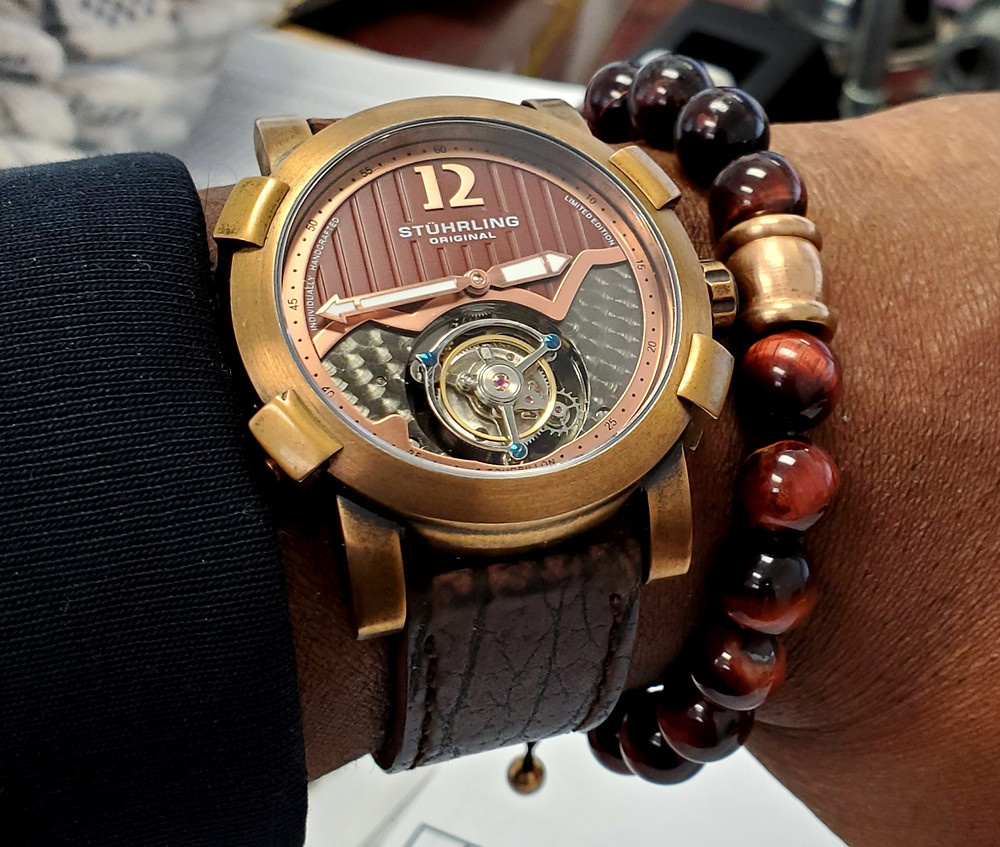 WOTD wrist-shot of the Stuhrling Original, Devilray Tourbillon - Bronze.  Paired with a beaded bracelet, in color SoHo, designed by Dorsal Bracelet Co.