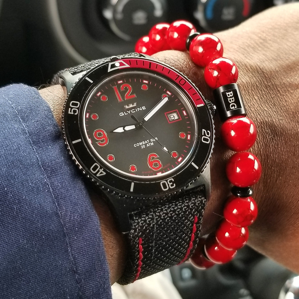 WOTD wrist-shot of the Glycine Combat Sub.  Paired with a custom, beaded bracelet, designed by Beads By Gonzo.