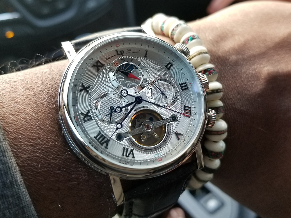 Lucien Piccard Ottoman, Multi-Function Moonphase.  Paired with Yak bone, copper-infused, beaded bracelet.