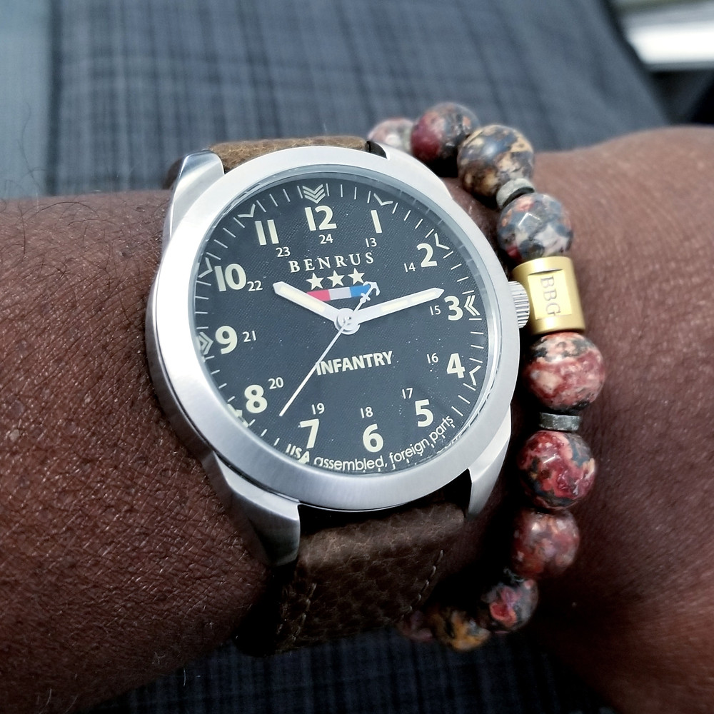 WOTD wrist-shot of the Benrus, Infantry, Field Watch.  Paired with custom-made, color-matched bracelet, designed by Beads By Gonzo.