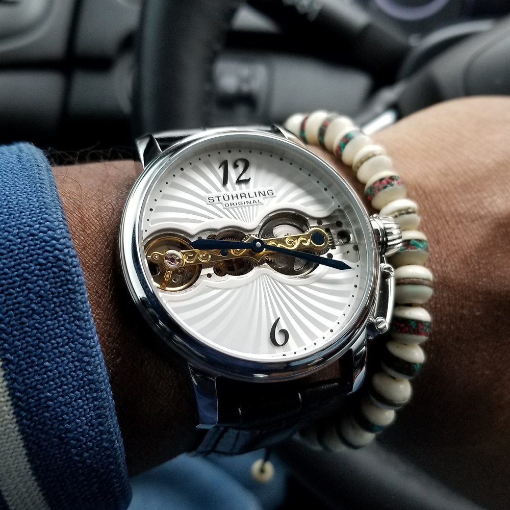 WOTD wrist-shot of the Stuhrling Original Doppler, paired with a copper-infused, Yak bone, beaded bracelet.