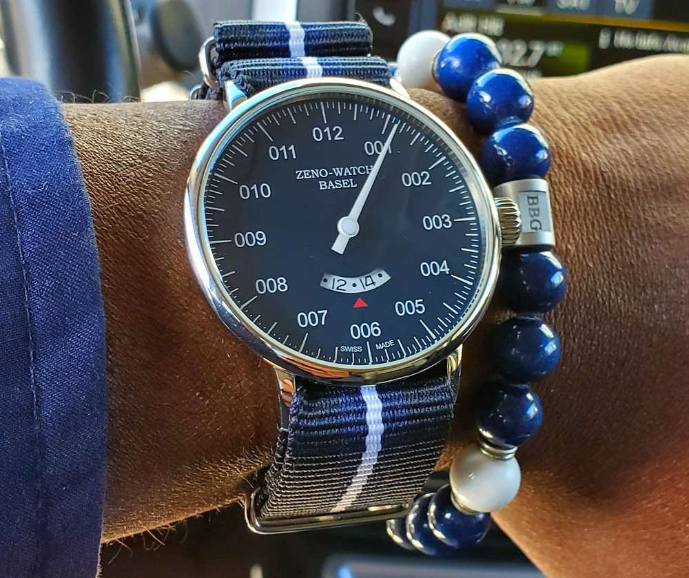 WOTD wrist-shot of the Zeno-Watch Basel, Pilot.  Paired with a custom-crafted bracelet, designed by Beads By Gonzo.
