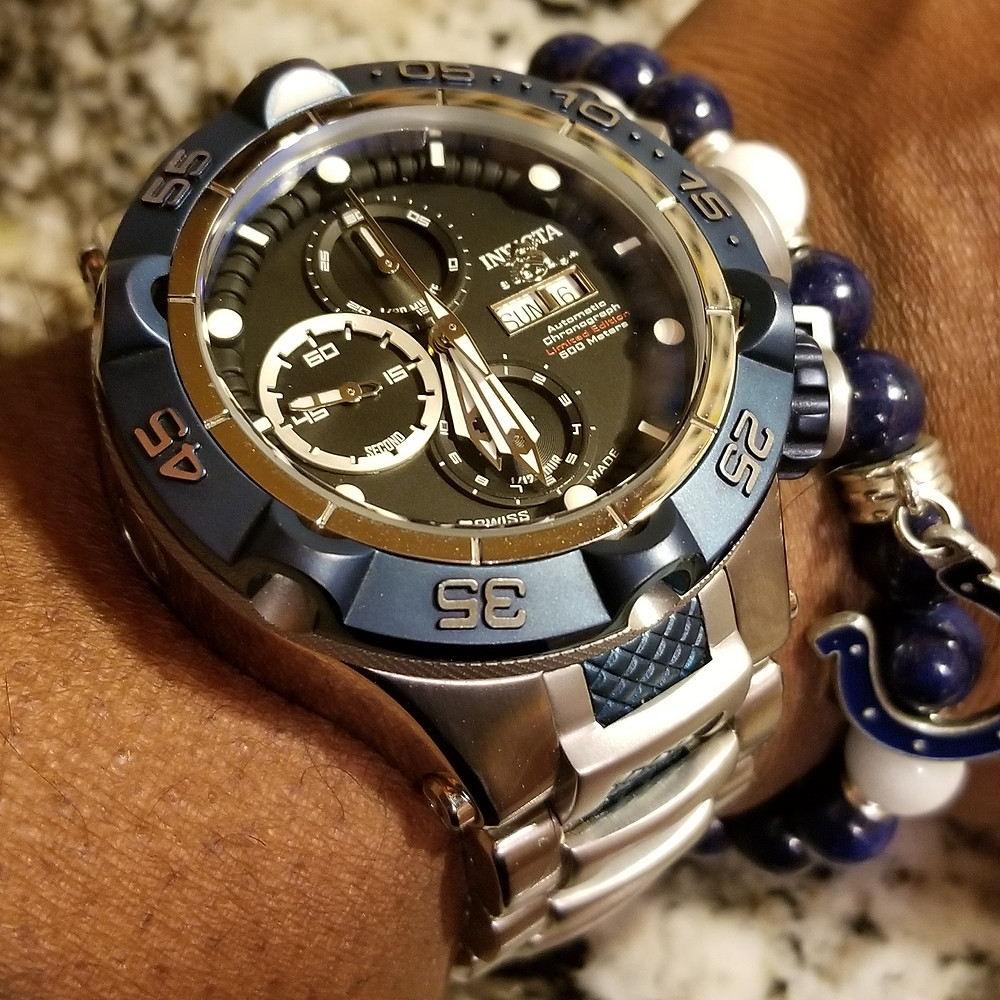 WOTD wrist-shot of the Invicta, SubAqua Noma V, Automatic Chronograph.  Paired with a custom bracelet, designed by Beads By Gonzo.