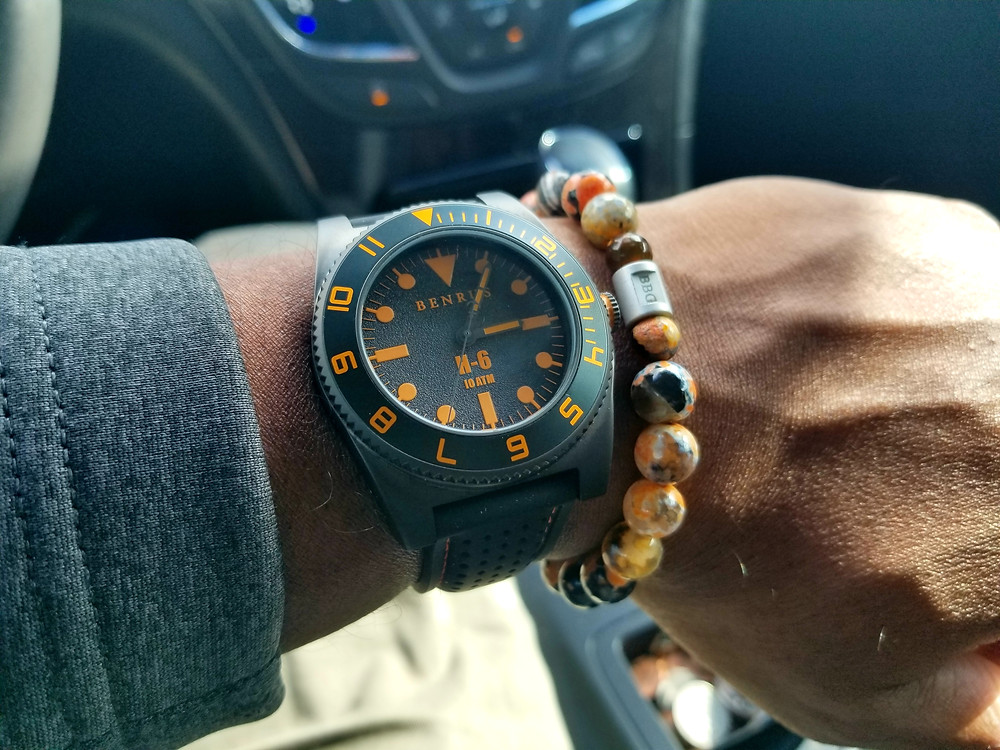 Benrus, H-6 Orange, paired with custom beaded bracelet designed by Beads By Gonzo.