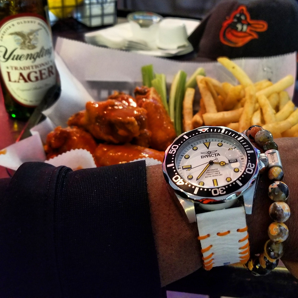 "WOTD wrist-shot of the Invicta, ""Creamsicle"" Grand Diver, Automatic.   Paired with a custom, beaded bracelet, designed by Beads By Gonzo."