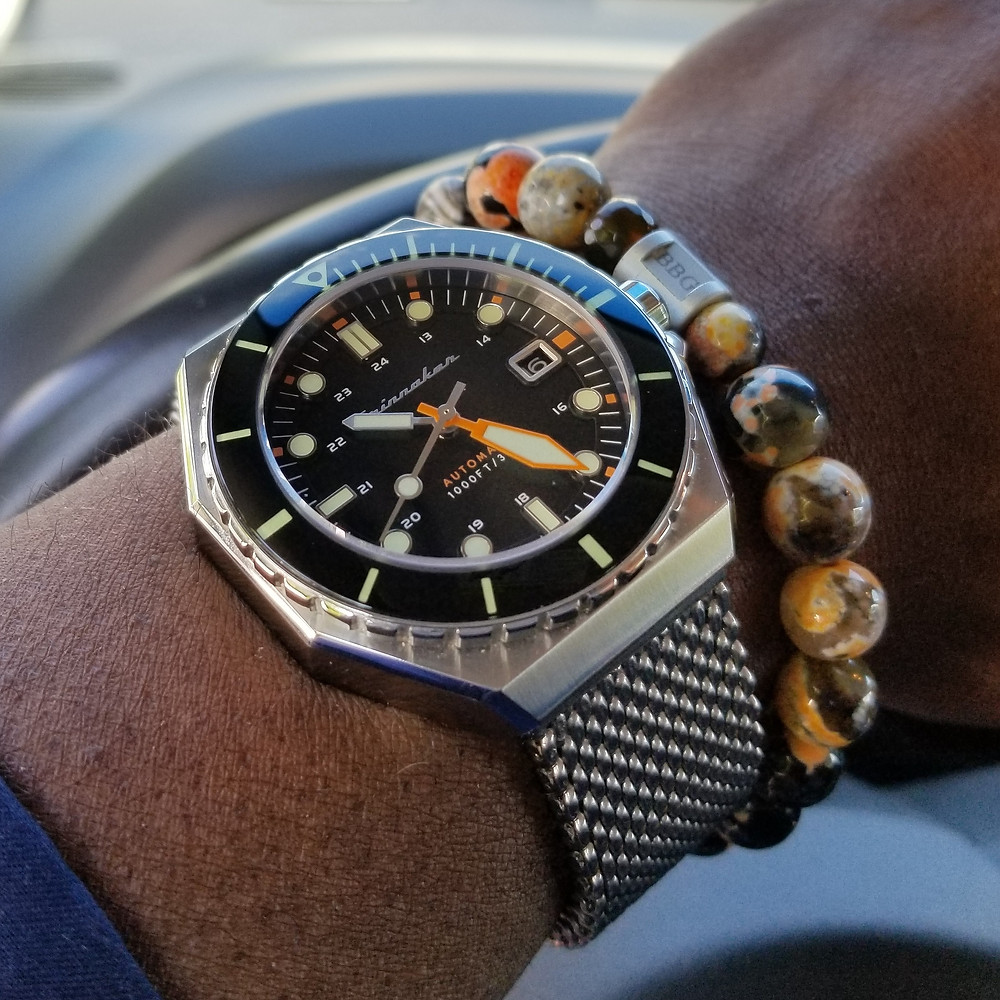 WOTD wrist-shot, of the Spinnaker, Dumas Diver.  Paired with a custom bracelet, designed by Beads By Gonzo.