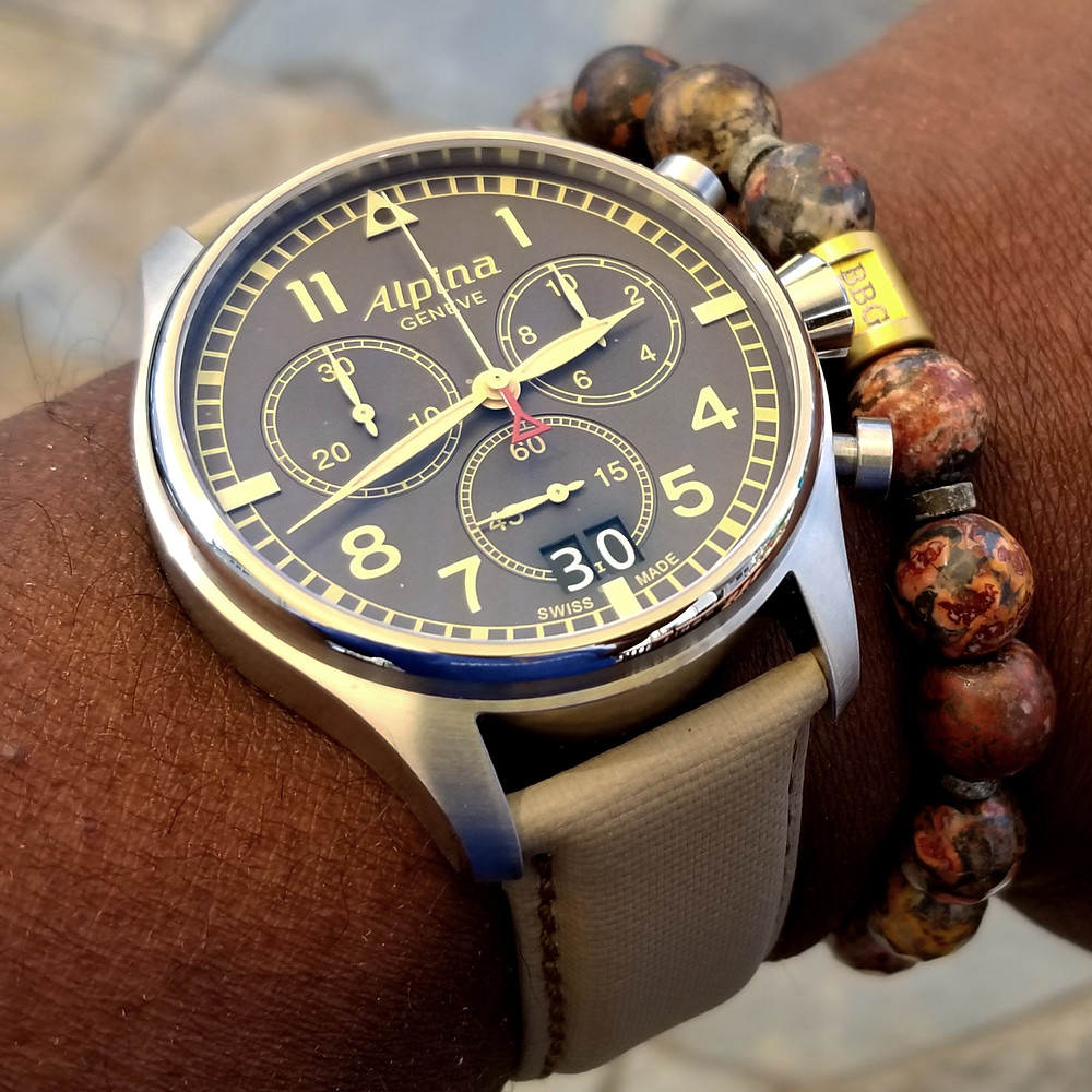 WOTD wrist-shot of the Alpina, Startimer, Pilot Chronograph.  Paired with a custom, beaded bracelet, designed by Beads By Gonzo.