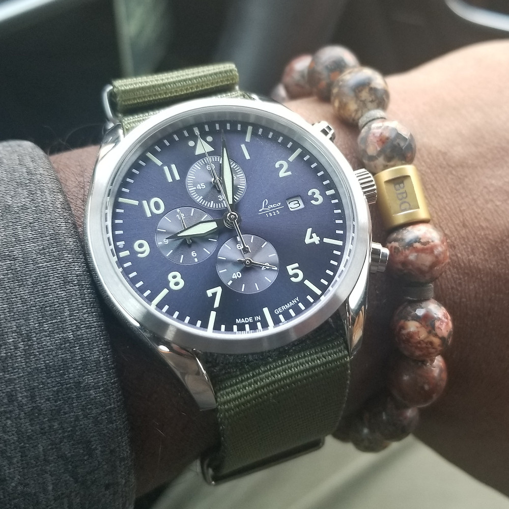 WOTD wrist-shot of the Laco Pilot Chronograph, paired with a custom, beaded bracelet, designed by Beads By Gonzo.