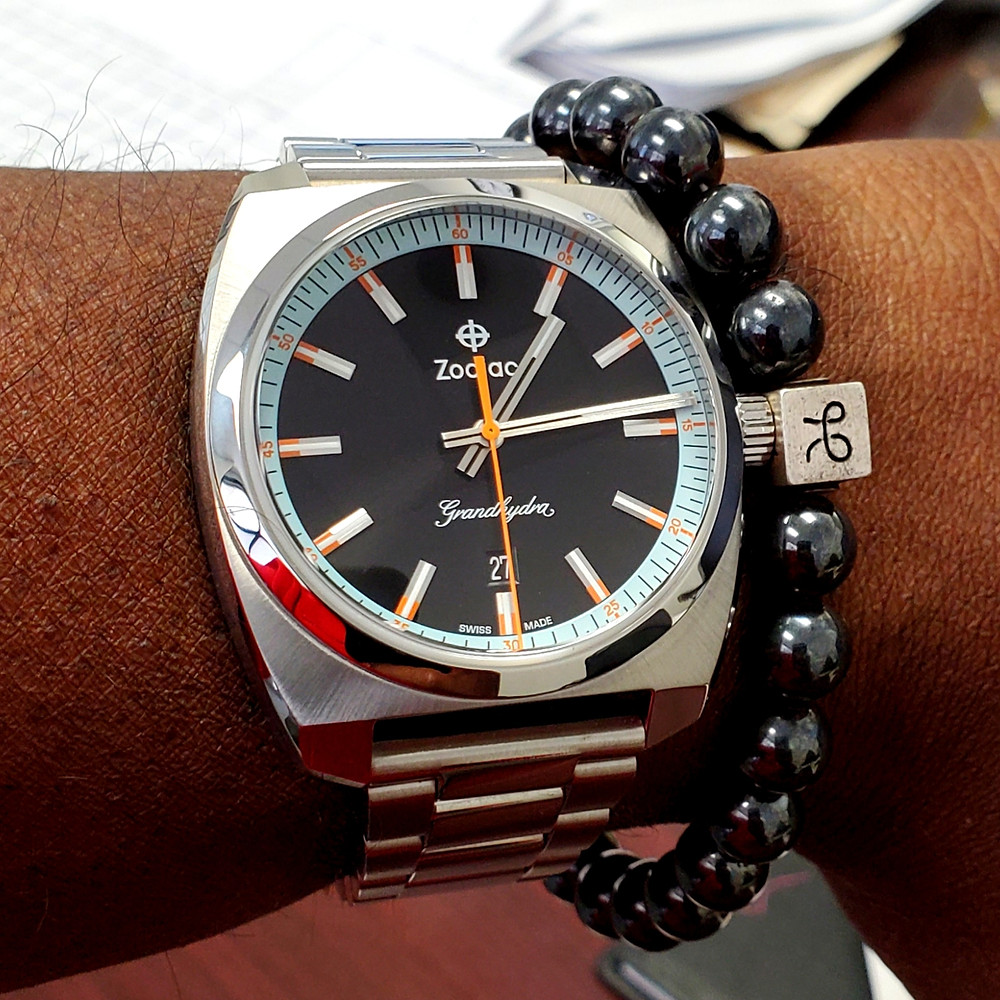 WOTD wrist-shot of the Zodiac - Grandhydra.  Paired with a minimalist, Hematite Stone bracelet, designed by Aurum Brothers.