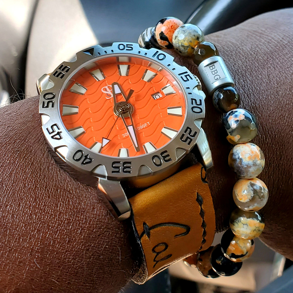 WOTD wrist-shot of the Smith & Bradley, Wraith Diver.  Matched with a custom bracelet, designed by Beads By Gonzo.