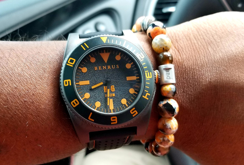 WOTD Wrist-Shot of the Benrus 1921, H-6, worn with a custom Beads by Gonzo beaded bracelet.