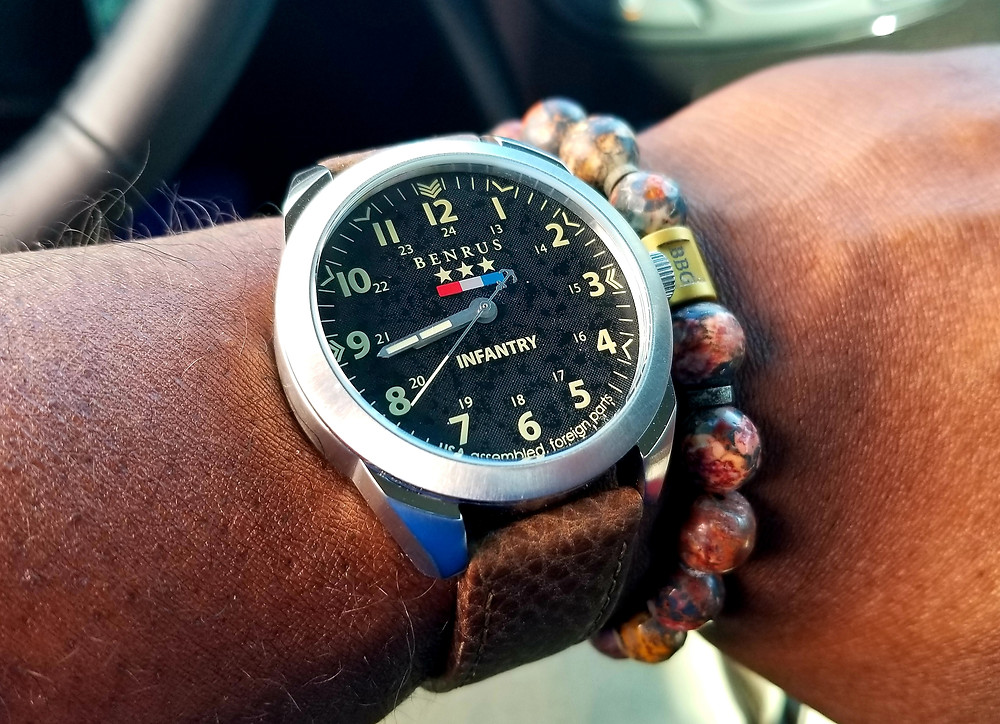 WOTD wrist-shot showing the Benrus 1921, Infantry Field Watch, on Brown leather strap.  Accompanied by Beads by Gonzo custom beaded bracelet.