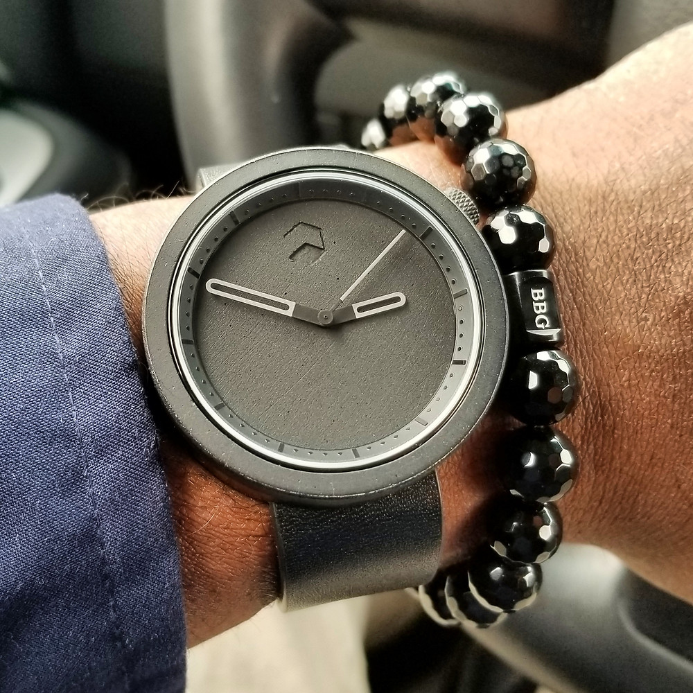 WOTD wrist-shot of the Ag-Gre-Gate Masonic, In Black.  Paired with a custom, beaded bracelet, designed by Beads By Gonzo.