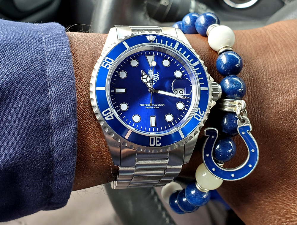 WOTD wrist-shot of the Phoibus Submariner.  Paired with a custom-crafted bracelet, designed by Beads By Gonzo.