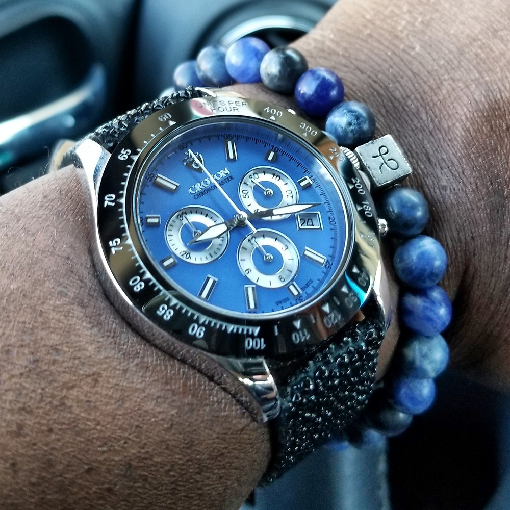 WOTD wrist-shot of the Croton, Chronomaster 925 Chronograph.  Paired with a minimalist, Sodalite stone, beaded bracelet, designed by Aurum Brothers.