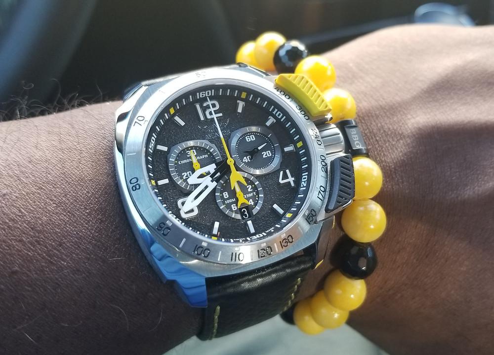 WOTD wrist shot of the Aviator, Smith's Flight Team, Professional Chronograph, accompanied by custom Beads By Gonzo beaded bracelet.