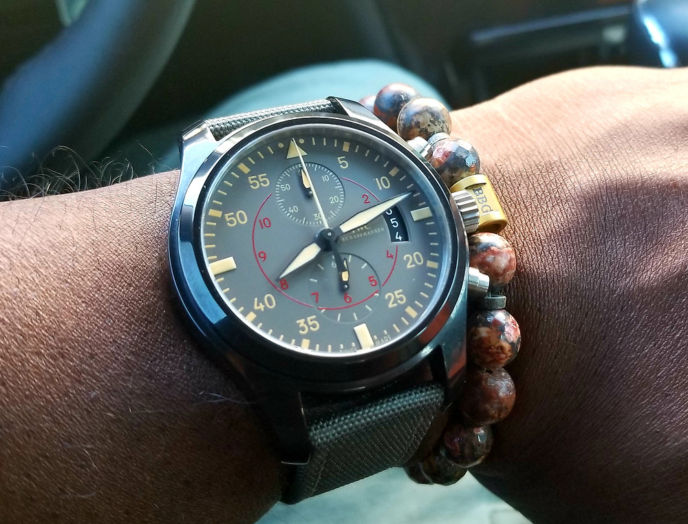 WOTD wrist shot showing the IWC, Top-Gun, Miramar, Chronograph, accompanied by custom-made beaded bracelet from vendor Beads By Gonzo.