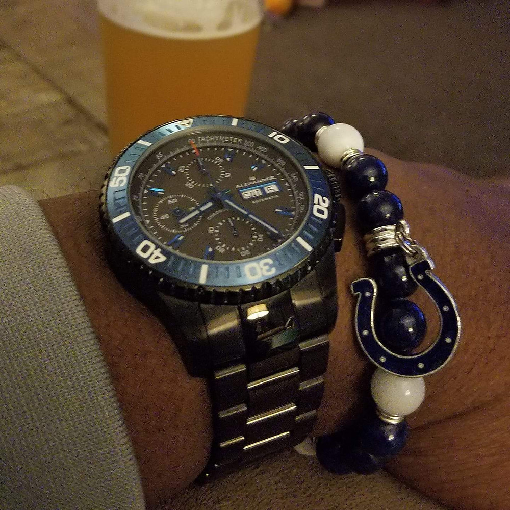 Alexander Olyn, A420, Valjoux 7750, paired with a custom, beaded bracelet, designed by Beads By Gonzo.