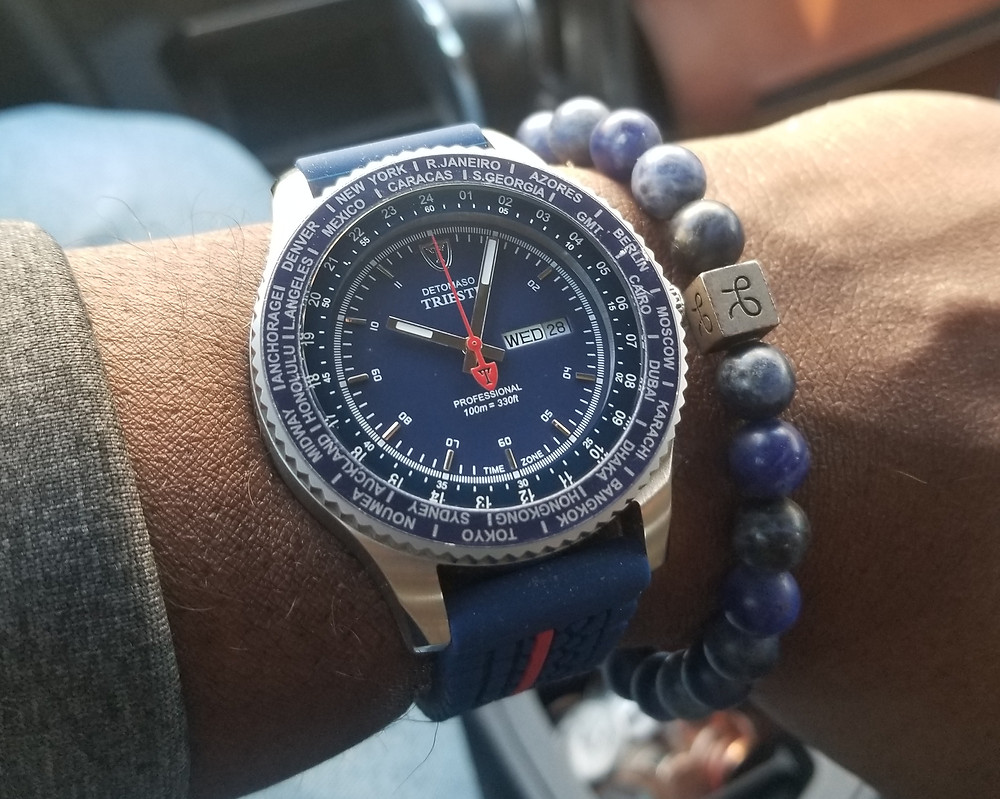 WOTD wrist-shot of the Detomaso, Trieste, World-Timer, paired with an Aurum Brothers, Minimalist, Sodalite, beaded bracelet.