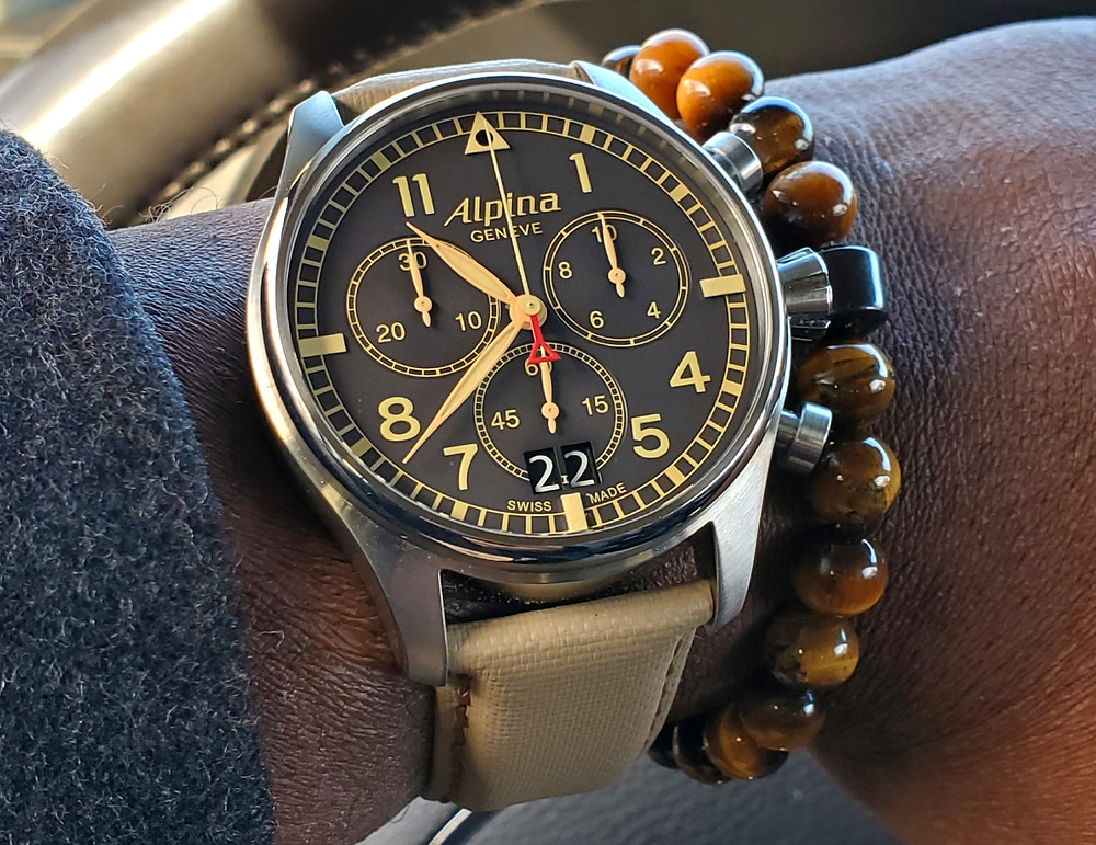 WOTD wrist-shot of the Alpina, Startimer Chronograph.  Paired with a beaded bracelet, in color SoHo, designed by Dorsal Bracelet Co.