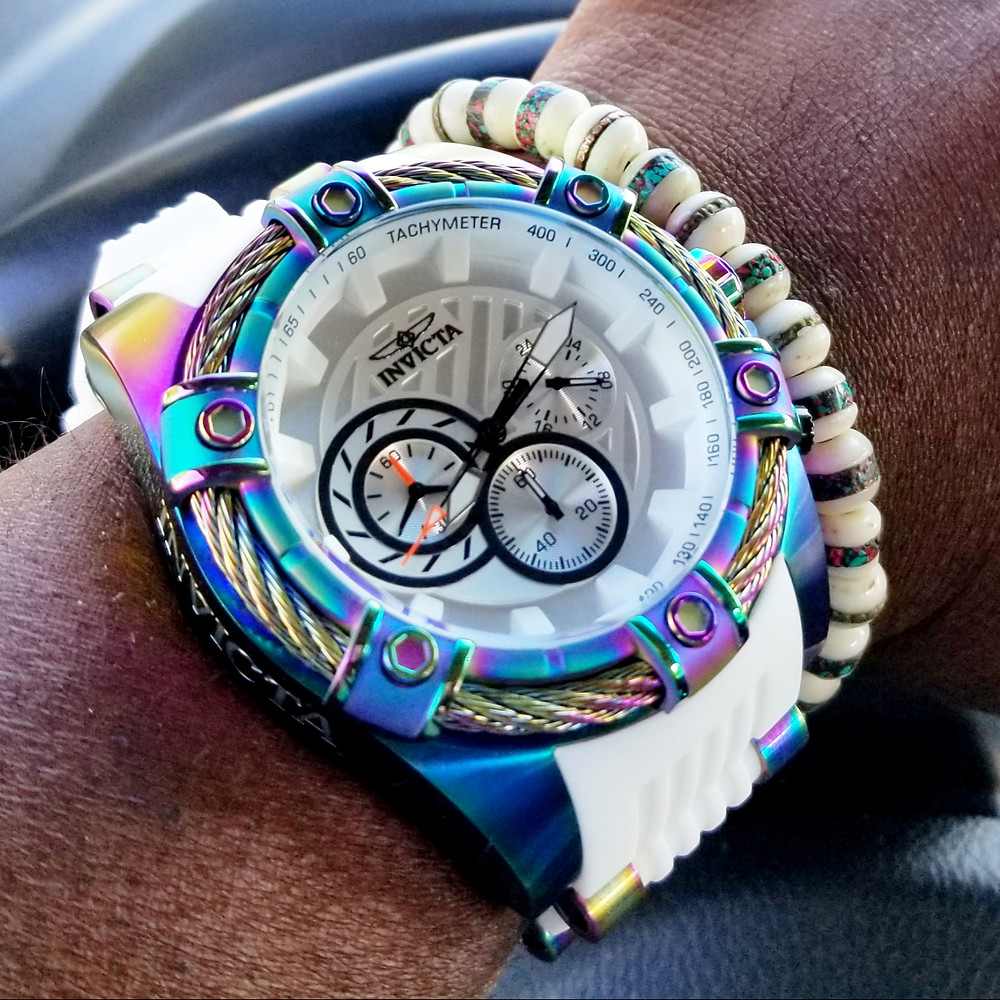 WOTD wrist-shot of the Invicta, Bolt Chroograph, with iridescent finish, accessorized with Yak bone, copper-infused, bracelet.