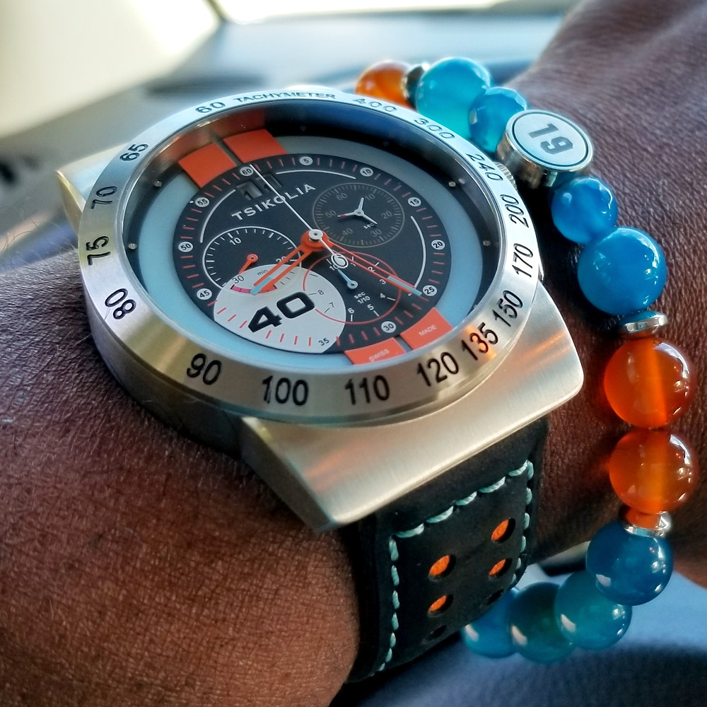 WOTD wrist-shot of the Tsikolia, GT40 Racing Chronograph.  Paired with a custom-designed bracelet, created by Beads By Gonzo.