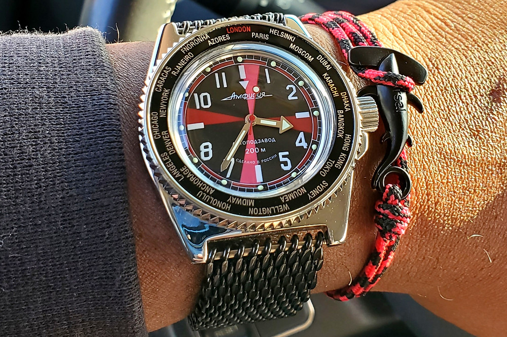 WOTD wrist-shot of the Vostok, Amphibian - Radio Room Mod.  Paired with a Hammerhead, rope bracelet, designed by Dorsal Bracelet Company.