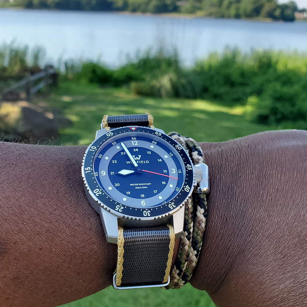 WOTD wrist-shot of the Winfield Watch Company, MT-2.  Paired with a camo Paracord, rope bracelet, designed by Wind Passion Accessories.