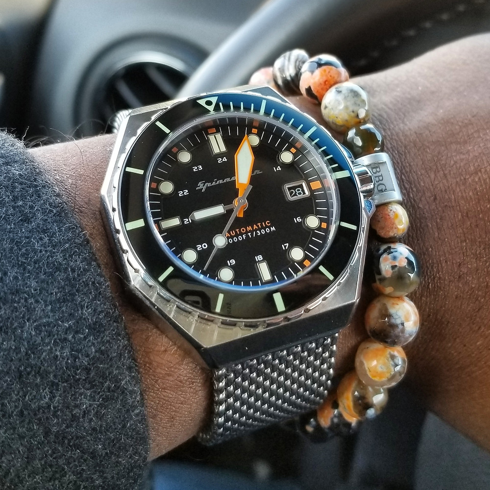 WOTD wrist-shot of the Spinnaker Dumas Diver.  Paired with a custom, beaded bracelet, designed by Beads By Gonzo.
