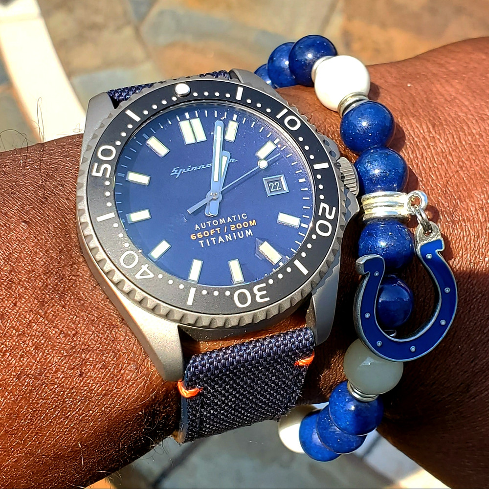 WOTD wrist-shot of the Spinnaker, Tesei Titanium.  Paired with a custom-crafted bracelet, designed by Beads By Gonzo.