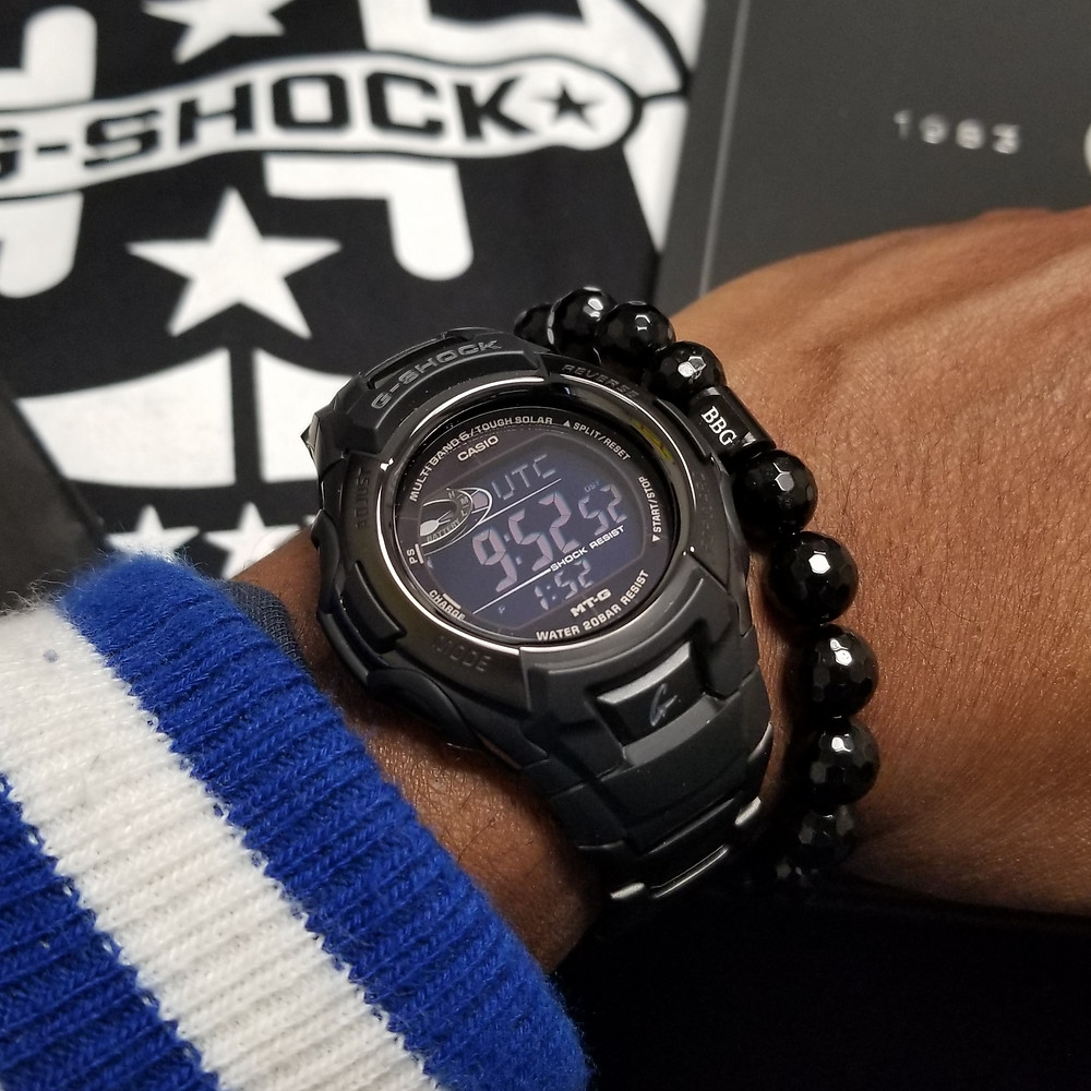 WOTD wrist-shot of the Casio G-Shock, paired with a custom bracelet, designed by Beads By Gonzo.