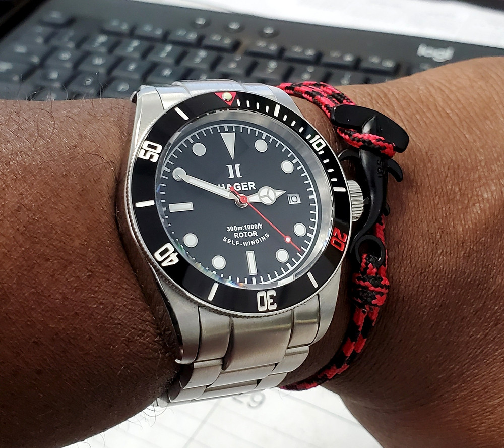 WOTD wrist-shot of the Hager Watch, Aquamariner Diver.  Paired with a Hammerhead, rope bracelet, designed by Dorsal Bracelet Company.