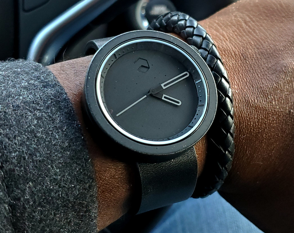 WOTD wrist-shot of the Ag-Gre-Gate Masonic, in Black.  Paired with a leather, Time Saver bracelet, crafted by Averitas Time.