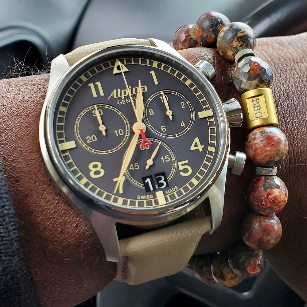 WOTD wrist-shot of the Alpina, Startimer Chronograph.  Paired with a custom-crafted bracelet, designed by Beads by Gonzo.