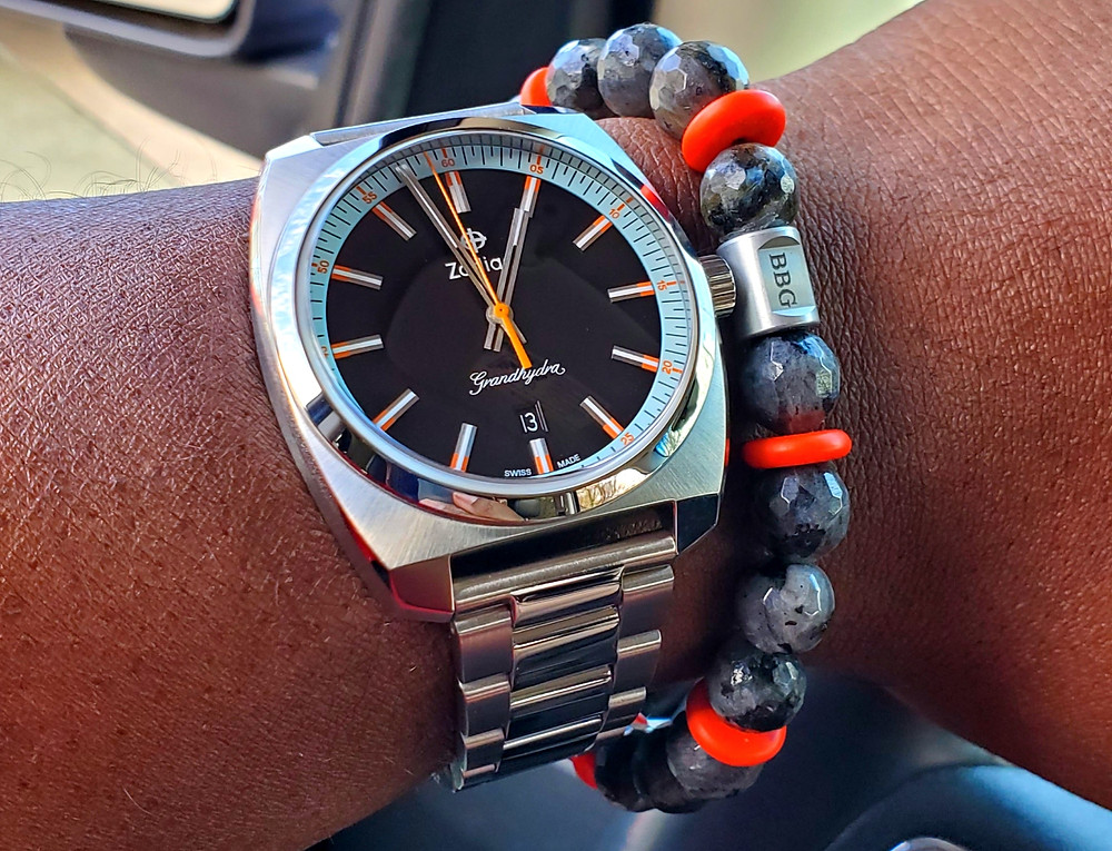 WOTD wrist-shot of the Zodiac - Grandhydra.  Paired with a custom-crafted bracelet, designed by Beads By Gonzo.