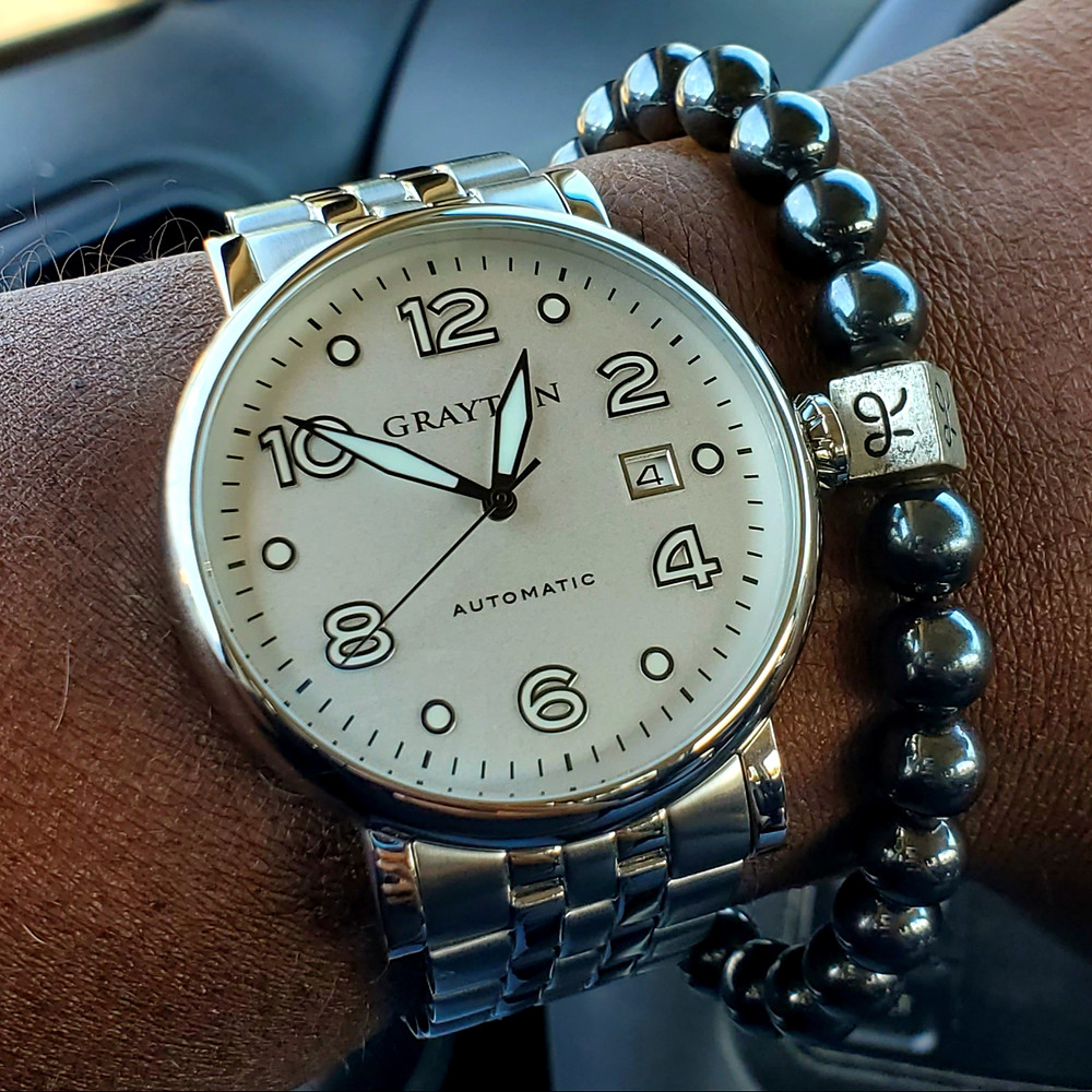 WOTD wrist-shot of the Grayton, Classic Pilot.  Paired with a minimalist, Hematite stone bracelet, designed by Aurum Brothers.