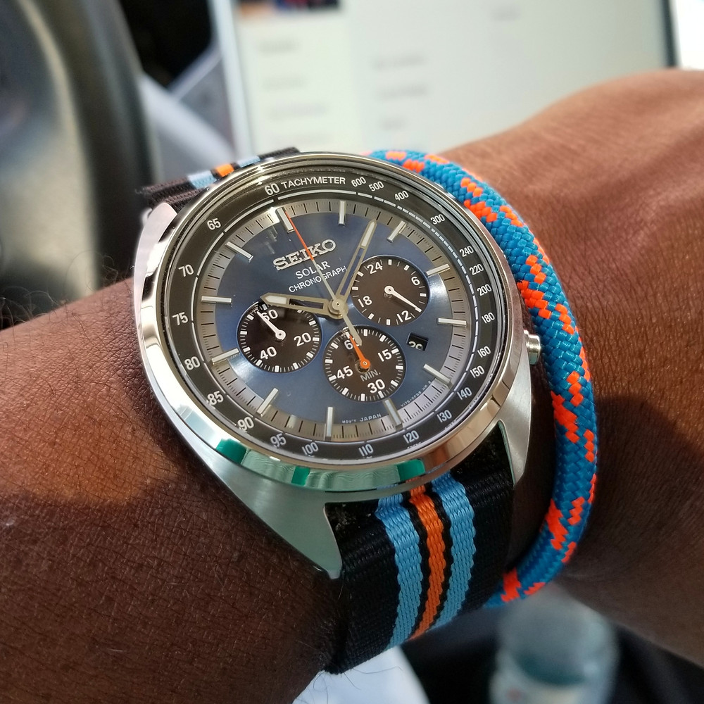 WOTD wrist-shot of the Seiko Recraft, Solar Chronograph.  Coordinated with a marine-grade, rope bracelet, designed by Roplet.