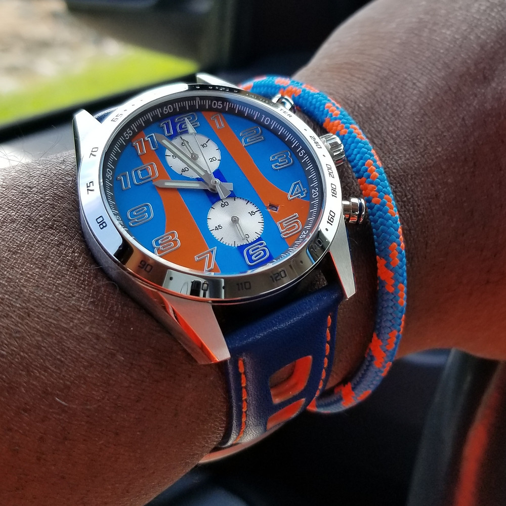 """WOTD wrist-shot of the Szanto, Danny Sullivan """"Icon Series"""", Racing Chronograph.  Paired with marine-grade, rope bracelet, designed by Roplet UK."""