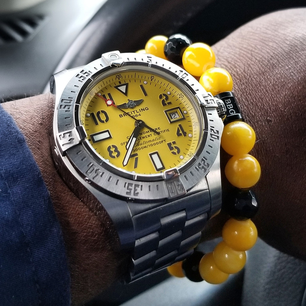 WOTD wrist-shot of the Breitling, Avenger Seawolf.  Paired with custom, beaded bracelet, designed by Beads By Gonzo.