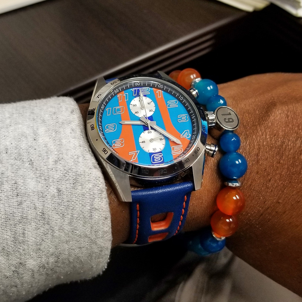 WOTD wrist-shot of the Szanto, Danny Sullivan Icon Series, Racing Chronograph Mod.   Paired with a custom-designed, beaded bracelet, crafted by Beads By Gonzo.