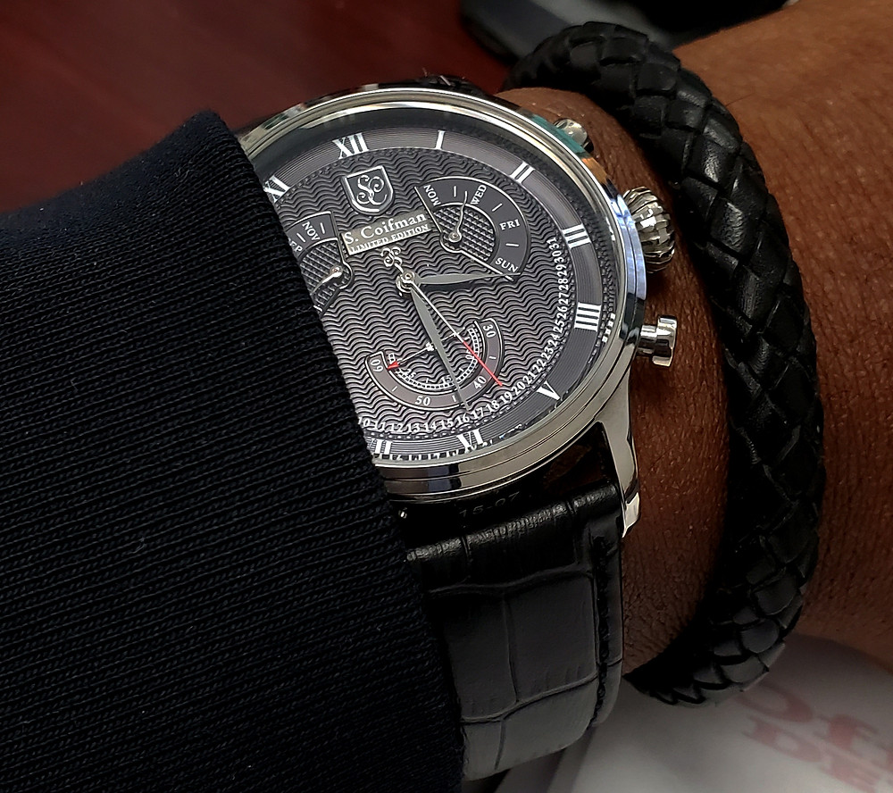 WOTD wrist-shot of the S. Coifman, Perpetual Calendar, Limited Edition.  Paired with a leather, Time Saver bracelet, crafted by Averitas Time.