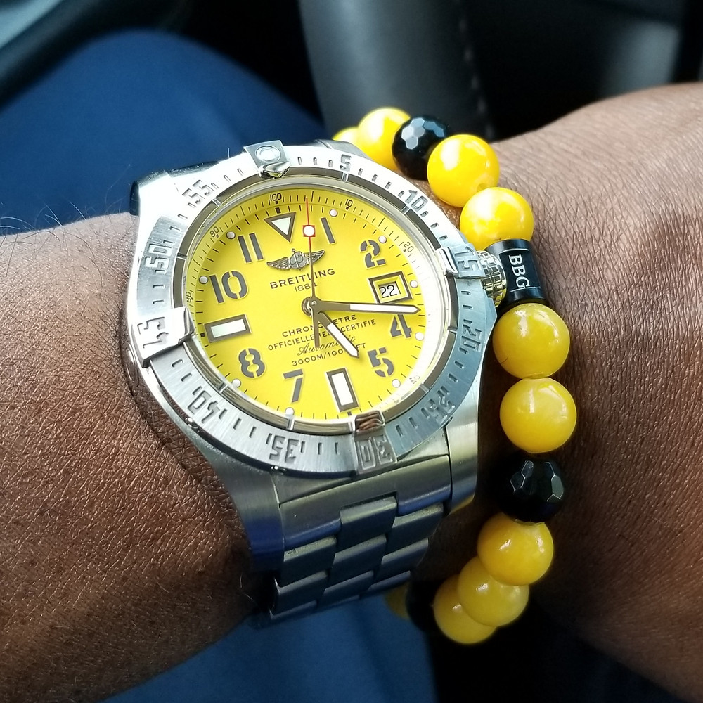 WOTD wrist-shot of the Breitling, Avenger Seawolf.  Paired with a custom, beaded bracelet, designed by Beads By Gonzo.