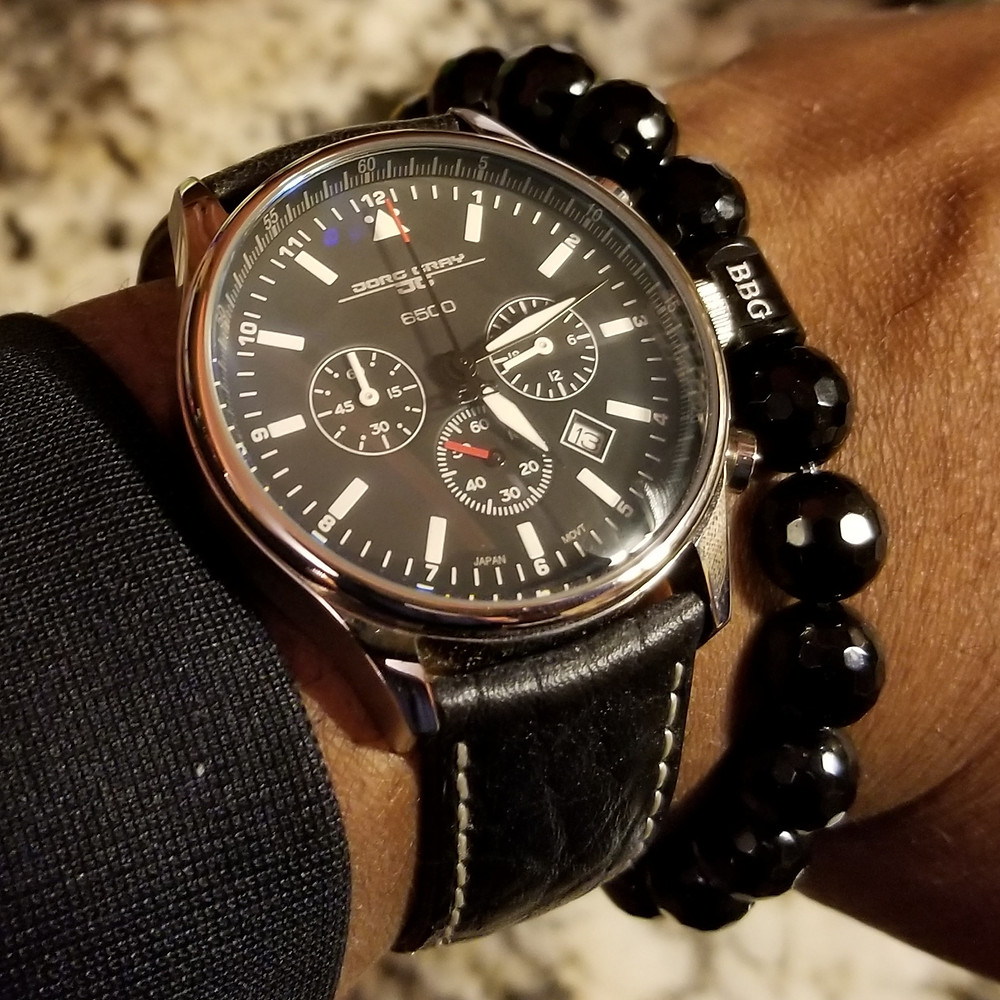 WOTD wrist-shot of the Jorg Gray, 6500 Commemorative Edition, paired with a custom, beaded bracelet, designed by Beads By Gonzo.