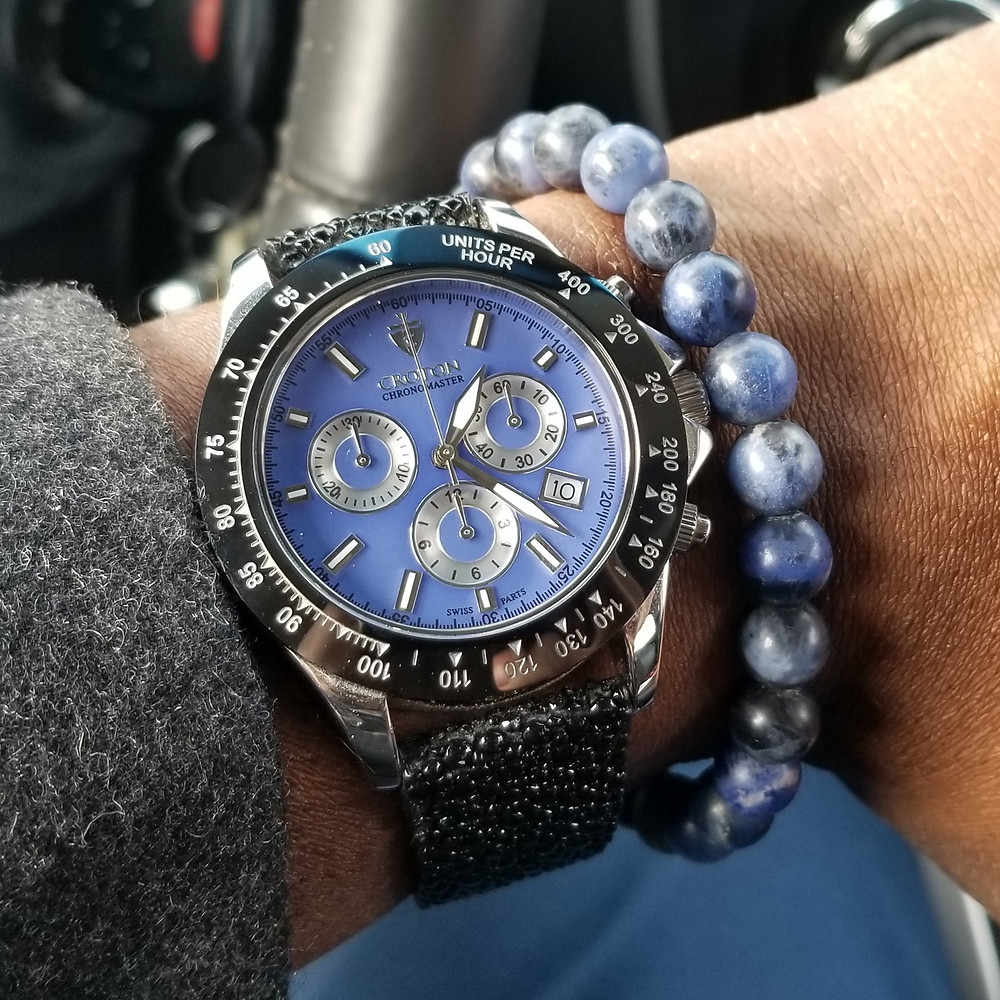 WOTD wrist-shot of the Croton, Chronomaster, 925 Chronograph, paired with a minimalist, sodalite, beaded bracelet, designed by Aurum Brothers.