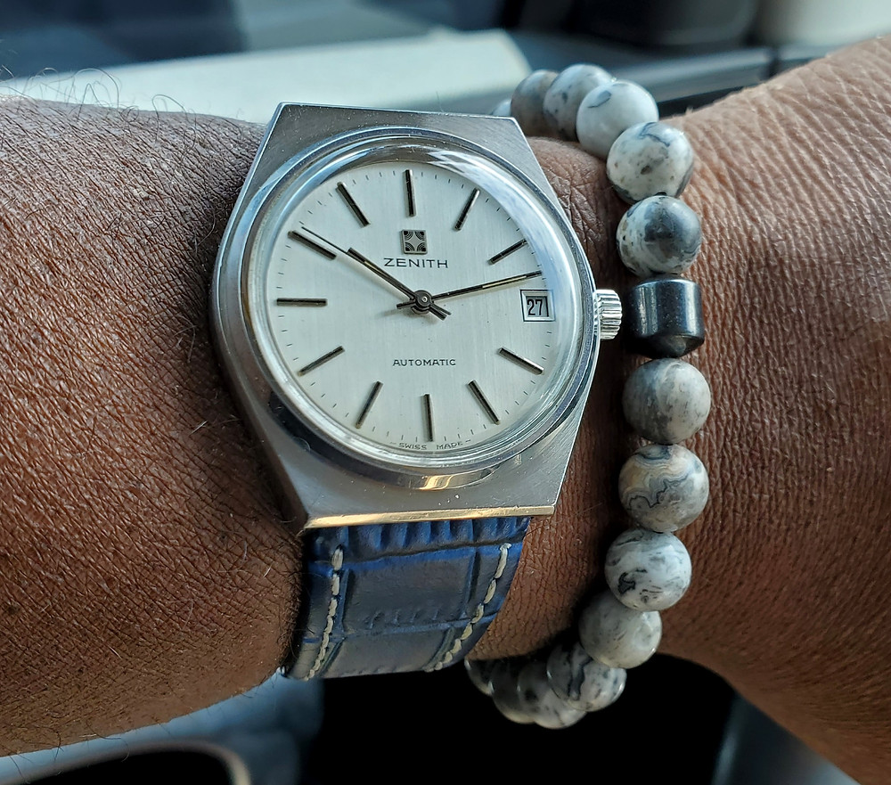 WOTD wrist-shot of the Vintage Zenith Surf.  Paired with a Dorsal Bracelet Co., beaded bracelet, in color Pose.